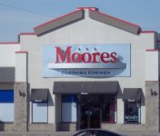 Store front for Moore's Clothing for Men